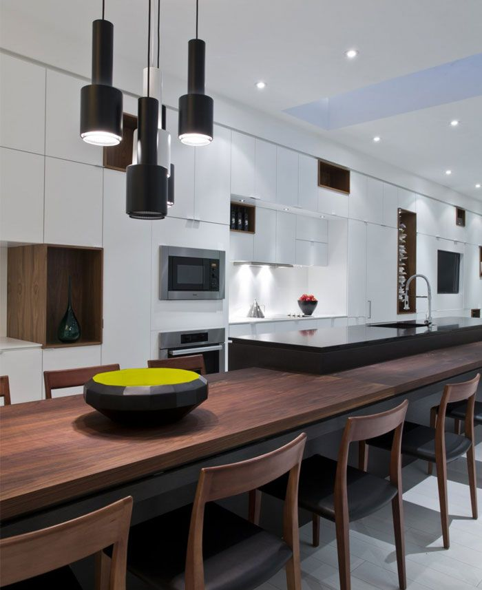 Wonderful Sustainable Interior Entirely In White Extended Kitchen Island