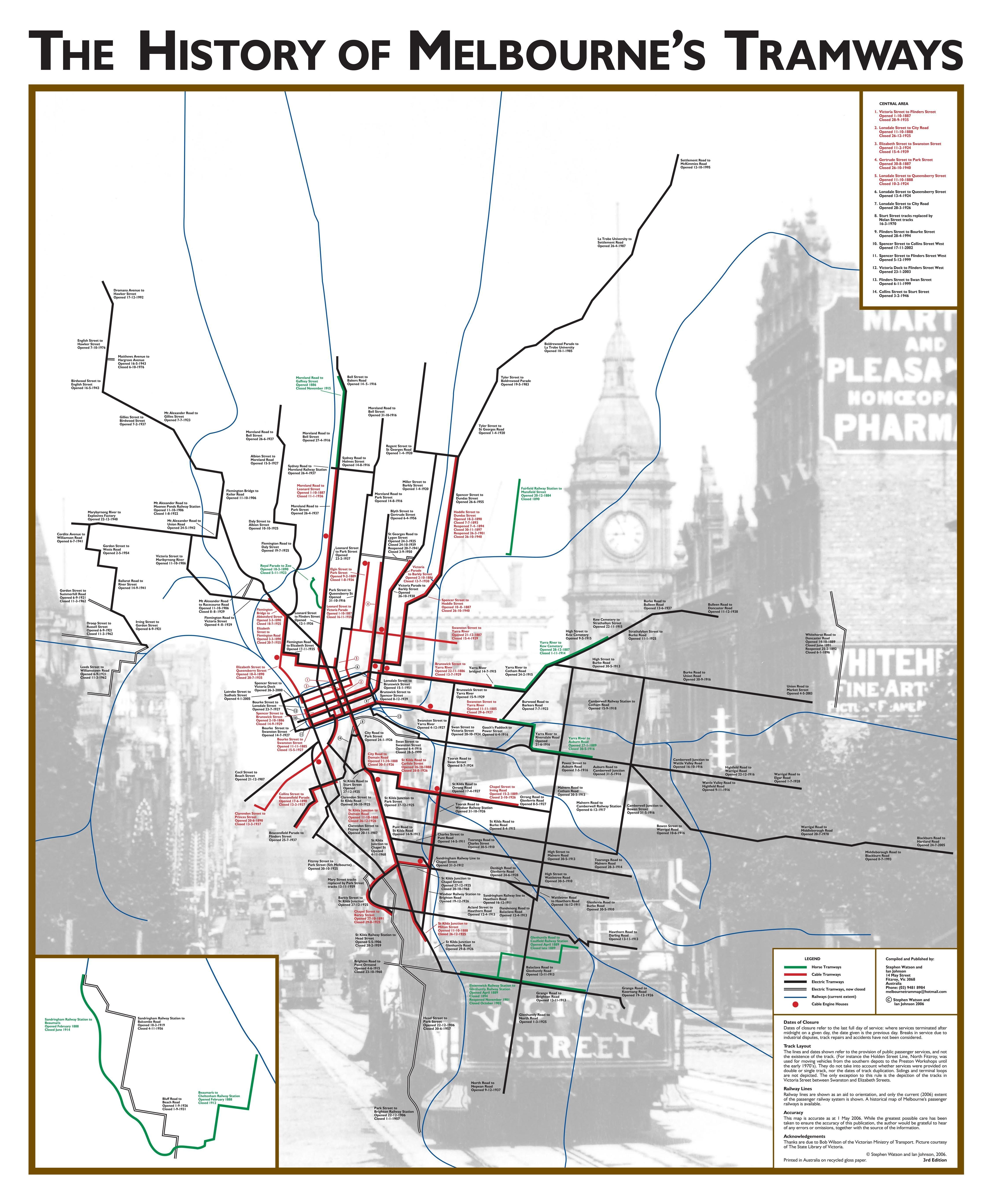 Historical Map of the Melbourne Metropolitan Tram Network Maps de
