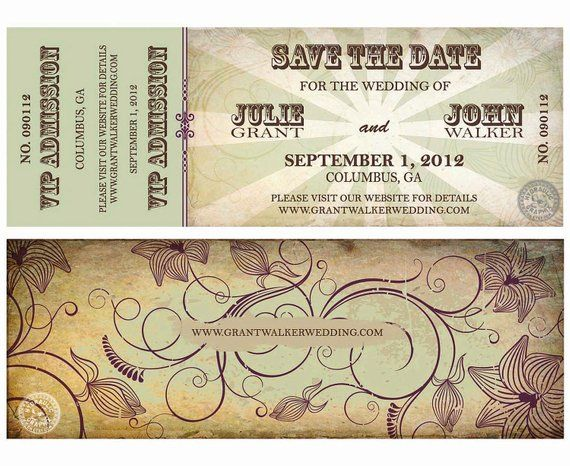 wedding save the date concert ticket for organic wedding music