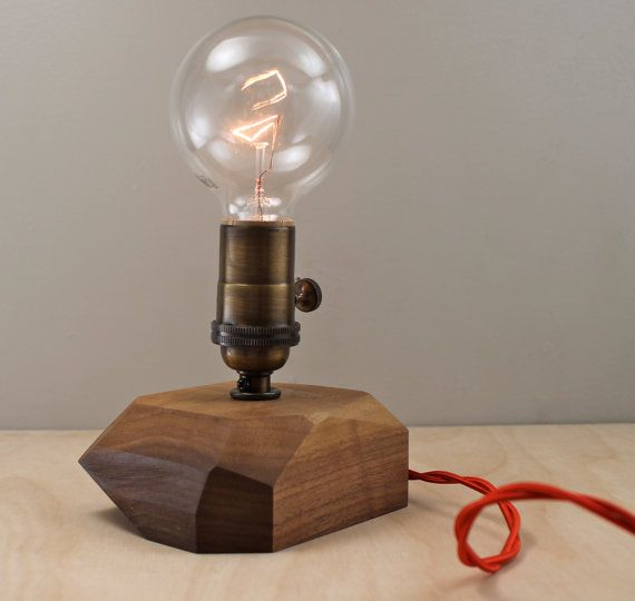 Modern Faceted Wood Table Lamp Contemporary Geometric Wooden Chunk Lighting Multifaceted Walnut Bare Bulb Edison Desk L Wood Lamps Table Lamp Wood Wood Diy