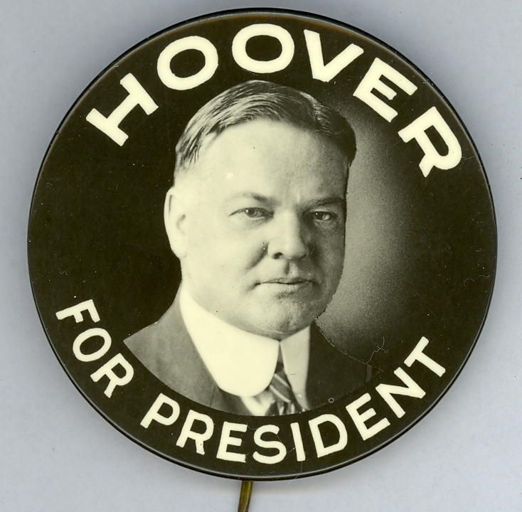 Herbert Hoover button, 1928 | Political Memorabilia Items ...
