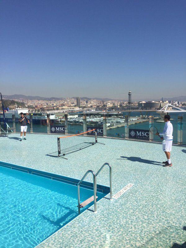 バルセロナに到着。バルセロナ大会また勝つことが出来るかな。クルーズ船でアルマグロとミニテニス!