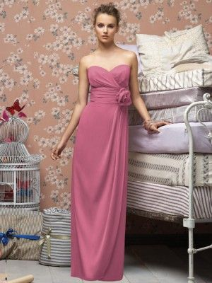 Wedding Dresses, Prom Dresses, Beautiful Designer Dresses & Formal Dresses - Lela Rose LX150 Strapless full length crinkle chiffon dress w pleated bodice and matching flower at rouched midriff Draped skirt Also available cocktail length as style LX149
