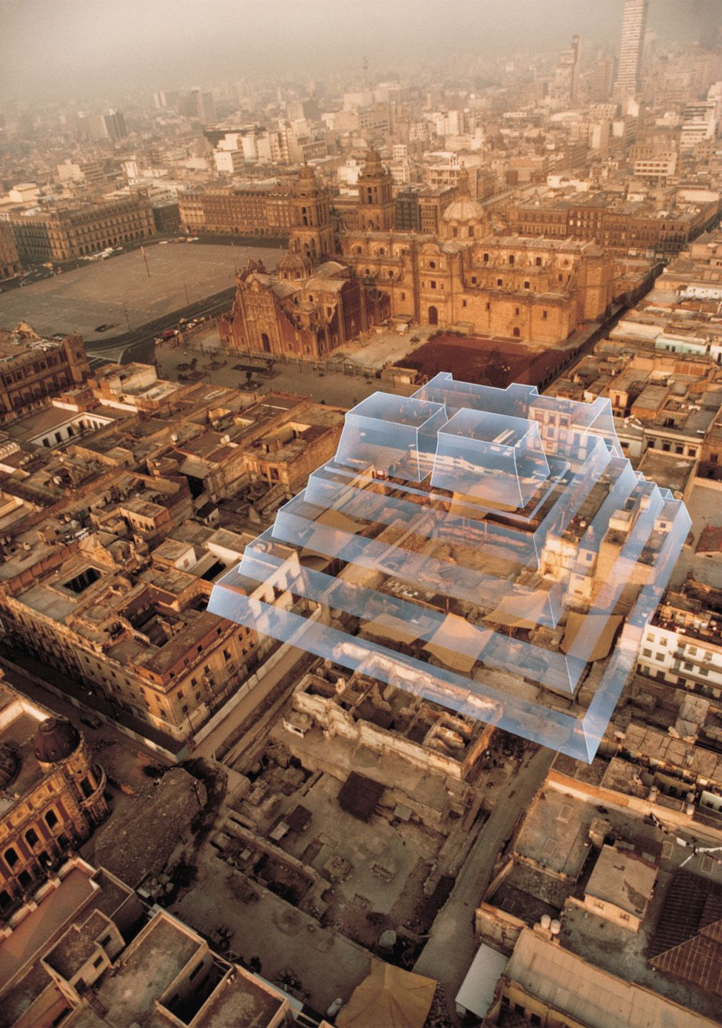 4 13 Aerial Photo Of The Ruins Of The Aztecs Templo Mayor Downtown Mexico City Mexico With Overlaid Cgi Reco Ancient Mexico Mexico History Mexican Travel