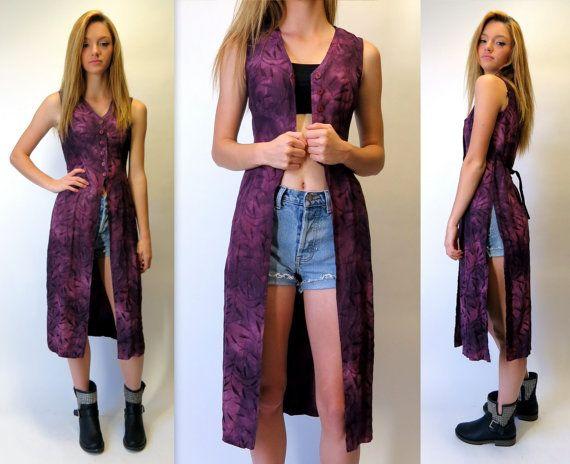 Vintage 90s Purple Sleeveless Duster Button Front Side Slit Long Vest Top Festival Vines Leaves Boho Gypsy Midi