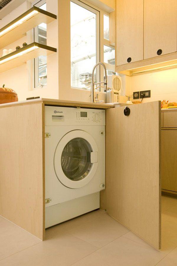 White Apartment Studio Designs In Small Space Hidden Washing Machine Modern Laundry Room Small Apartment Apartamento Lavanderia Armario Cozinha
