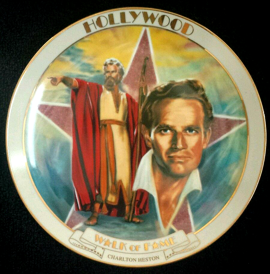 """Danbury Mint Co. ~ Hollywood Walk Of Fame Collector Plate ~ """"Charlton Heston""""."""