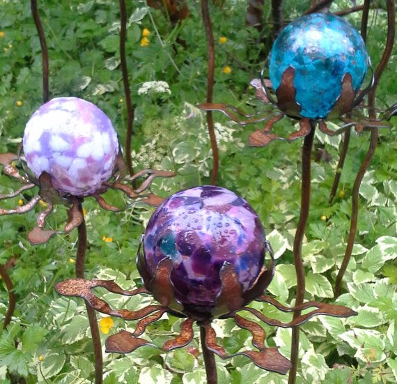Superieur SET Of 3   Garden Glass Ball   GARDEN STAKE   Metal Steel Enclosure