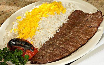 Beef Kabob Barg: lemon juice, onions, garlic, saffron, salt & pepper