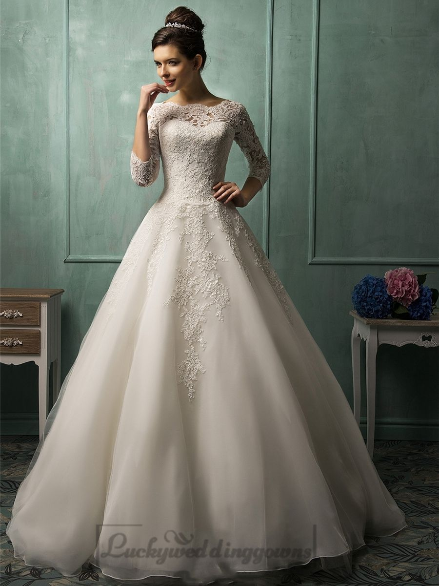Three Quarter Sleeves Illusion Neckline A-line Wedding Dress | A ...