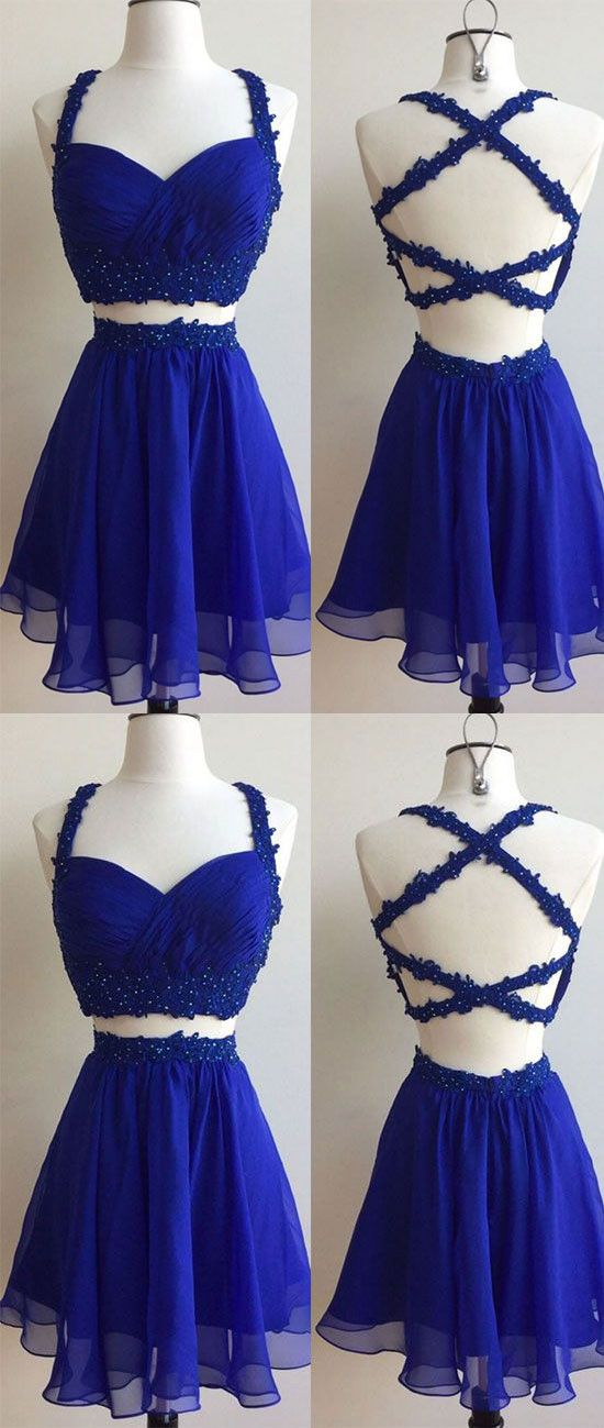 Roral Blue Homecoming Dresses Criss Cross