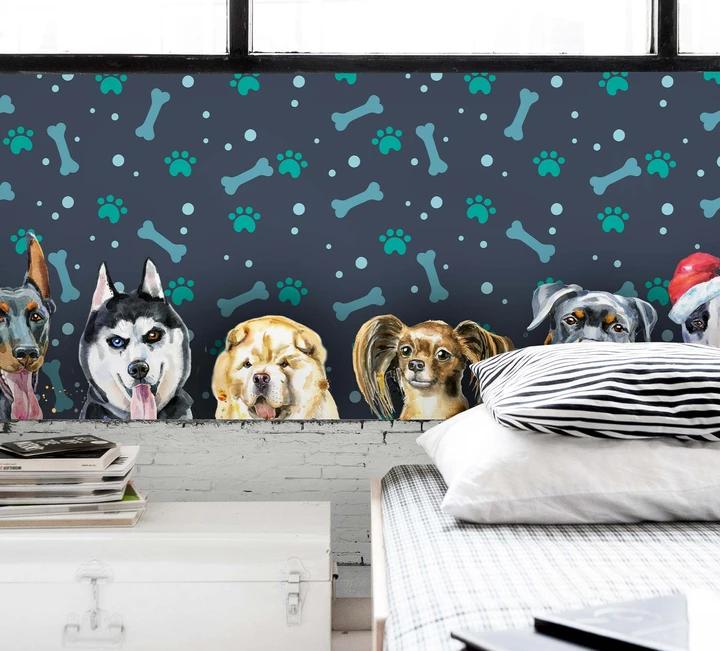 1 3d Dog Footprint Bone Wall Mural Wallpaper 38 Jessartdecoration In 2020 Mural Wallpaper Wall Murals Animal Wallpaper