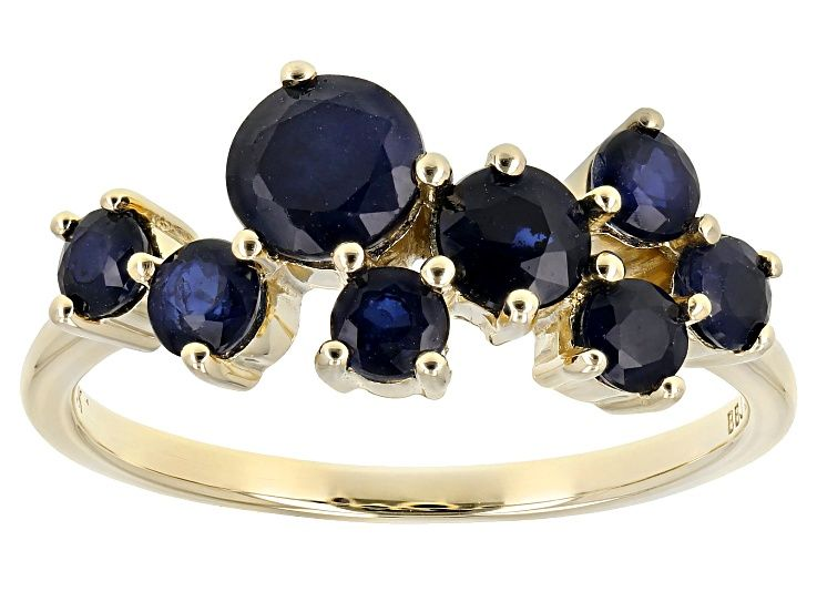 Pre Owned Blue Sapphire 10k Yellow Gold Band Ring 1 57ctw In 2020 Gold Band Ring Gold Bands Blue Sapphire