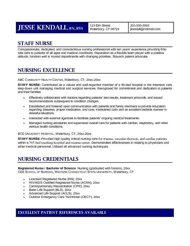 Staff Registered Nurse Resume  Vision Specialist  Good Place