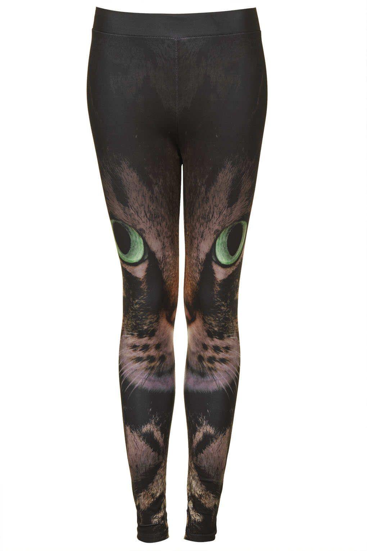 f048b921e1ef6 Cat Face Leggings - Leggings - Clothing - Topshop USA | Animalistic ...