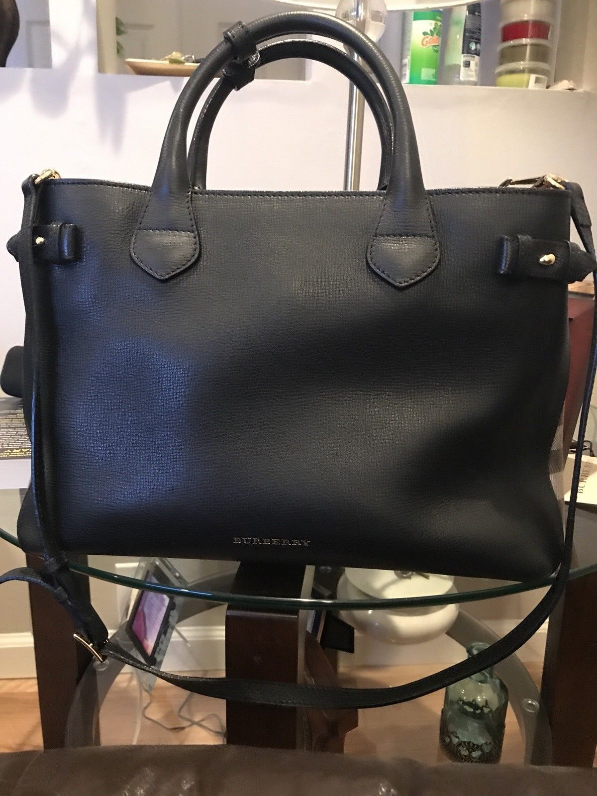 b47f2e7ca641 BURBERRY HANDBAG Large Banner- Derby House Check Calfskin Leather Tote