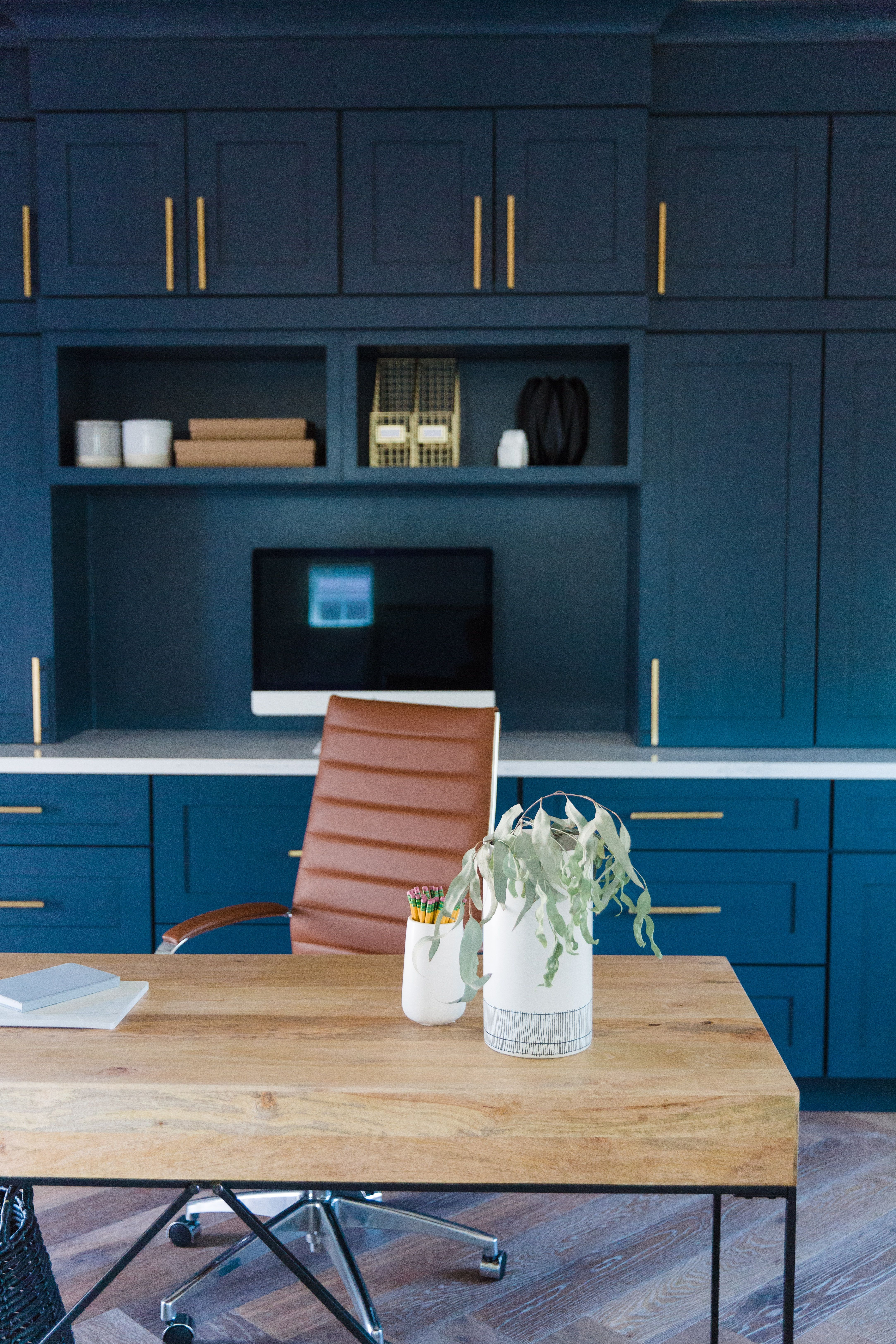 The Lifestyled Co Carol Way Project Carolwayproj Office Blue Cabinets Navy Cabinets Brass Home Office Cabinets Home Office Design Contemporary Home Office