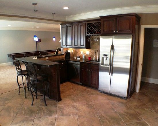 Basement design traditional basement bar kitchen with for Basement cabinet ideas
