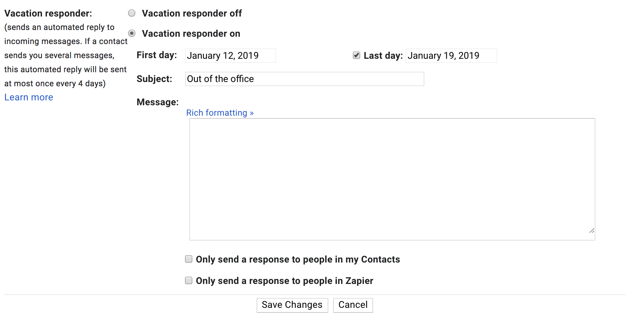 Vacation Responder In Gmail Settings Out Of Office Message Out