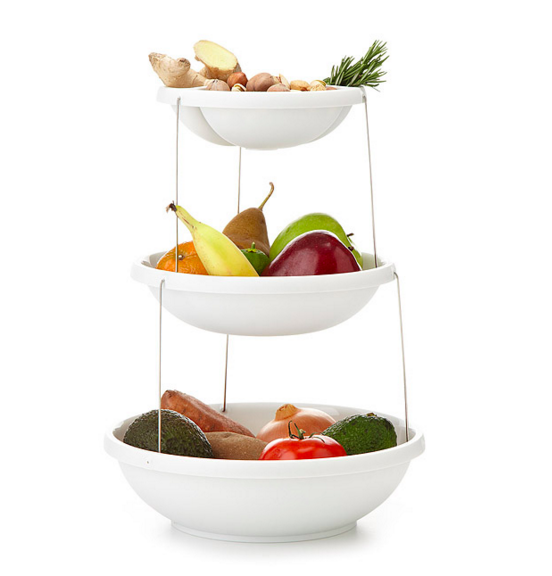 This 3-tiered bowl for anyone who really loves fruits and vegetables ($29.99). | 34 Wonderful Products For People Who Hate Clutter