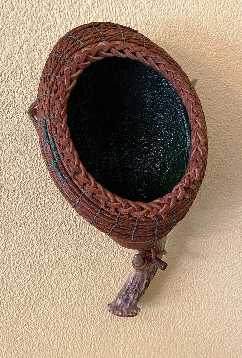 Antler Gourd Wall Art with Leather Braided Rim Item 1022 by | Etsy