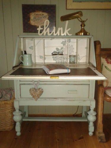 Vintage Art Deco Shabby Chic Painted Bureau Writing Computer
