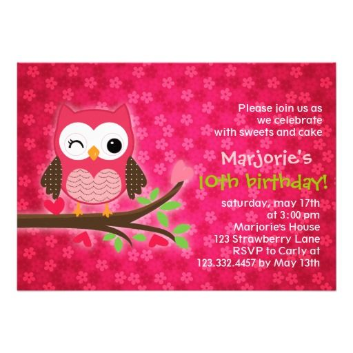 Hot pink cute owl girly birthday party invitation birthday hot pink cute owl girly birthday party invitation filmwisefo Image collections