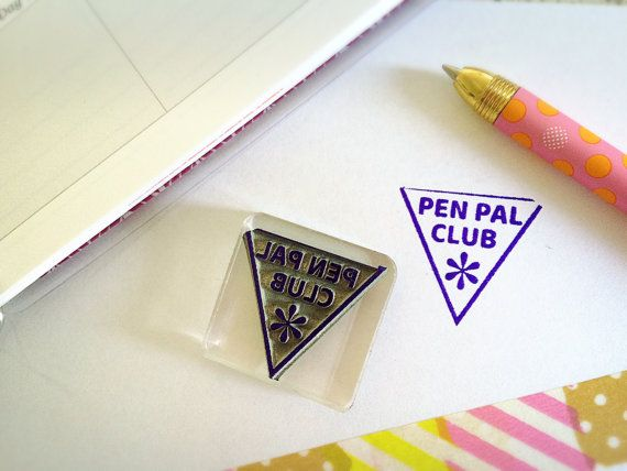 Pen Pal Stamp Happy Mail Rubber Stamp Postmark Letter Etsy Handmade Stamps Cute Pens Stamp Design