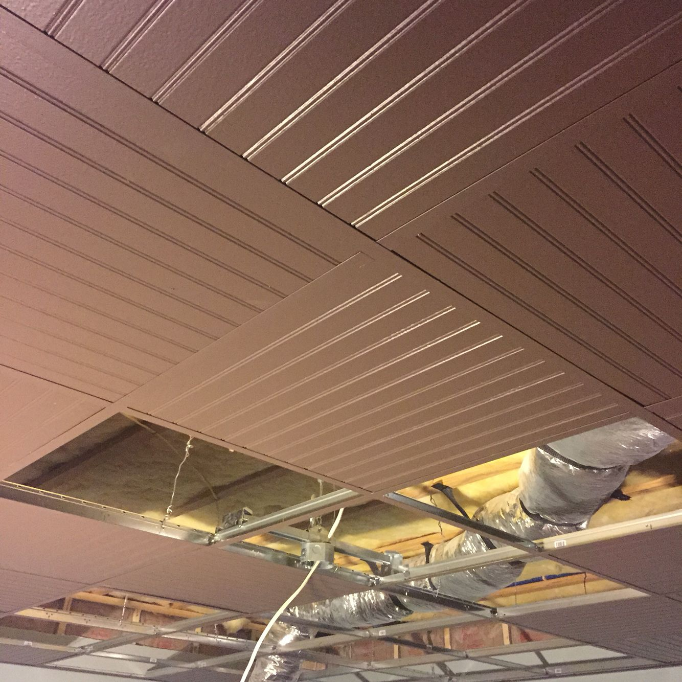 Suspended Ceiling Drop Ceiling Grid Painted With Bead Board Panels While In Progress Acoustic Ceiling Tiles Dropped Ceiling Drop Ceiling Tiles
