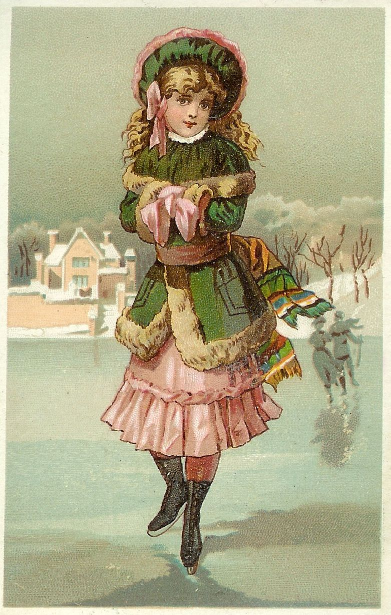 Antique Images Vintage Graphic Image Of Ice Skater Ice Skating