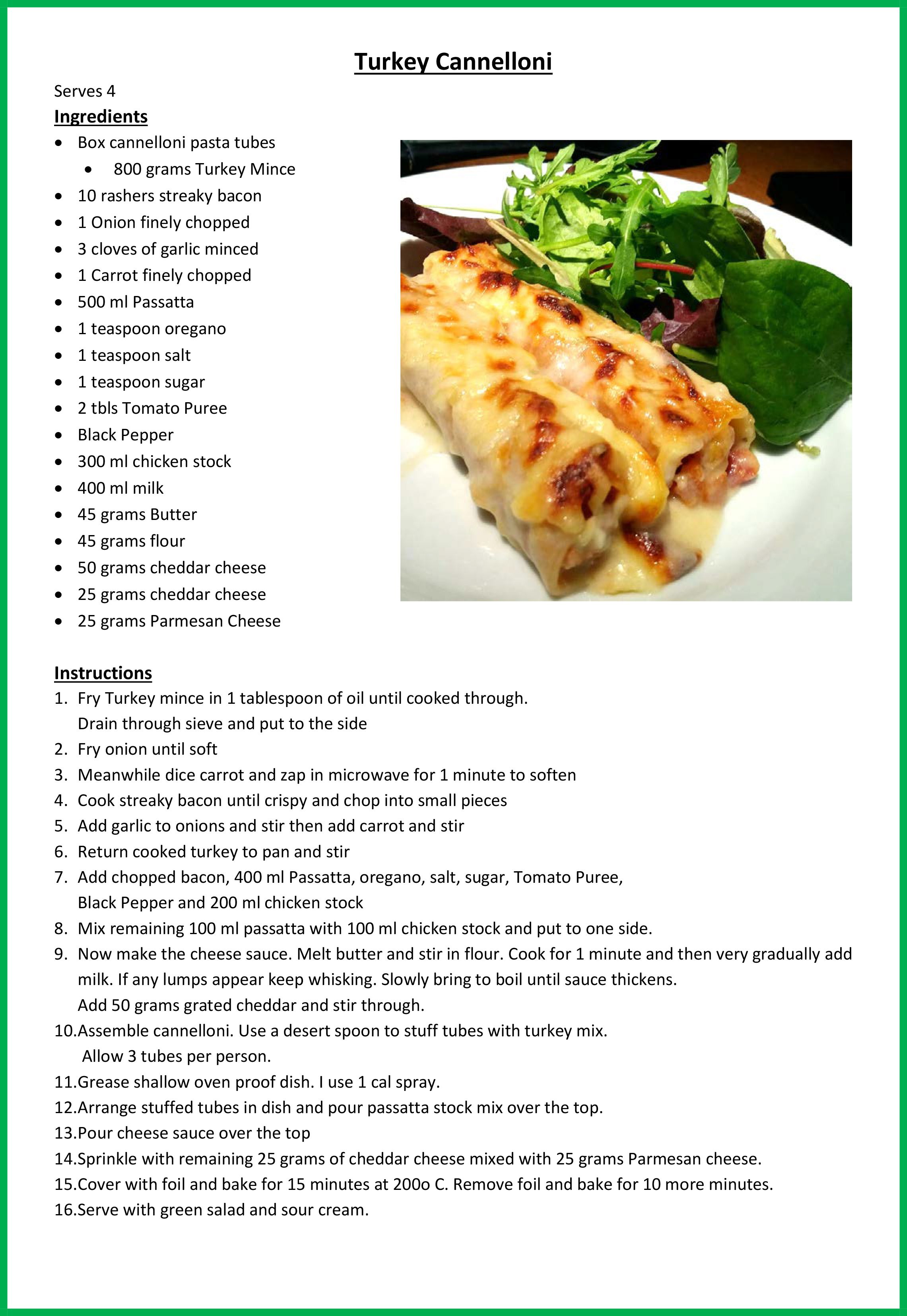 Cannelloni stuffed with turkey mince and topped with a ...