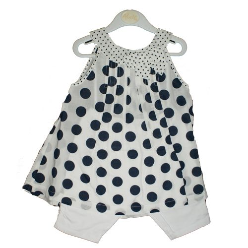 Prettiest summer outfit - 100% cotton white with navy spotty top and white leggings.  www.violetagnes.co.uk