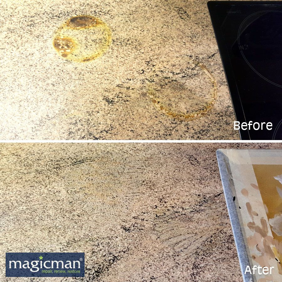 Accidental Damage From A Hot Pan That Burnt A Ring Into A Lovely Worktop Not Once But Twice Magicman Can Restore Your Wo Work Tops Countertop Repair Repair