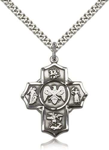 US National Guard 5-Way Military Sterling Silver Cross Medal Necklace by Bliss