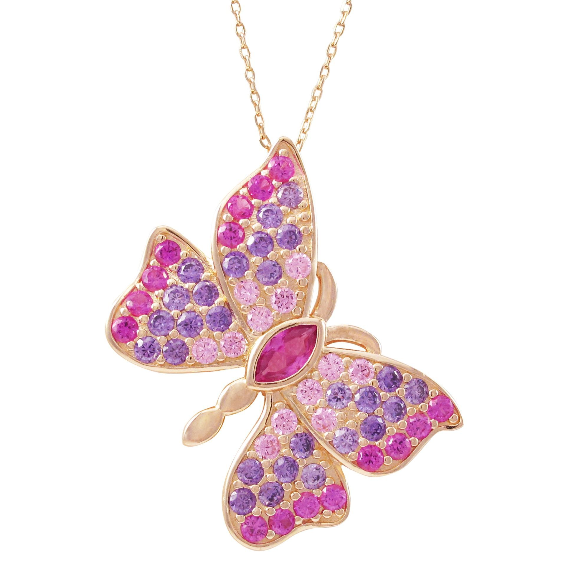 Luxiro Rose Gold Finish Sterling Silver Lab-created Ruby Butterfly Pendant Necklace