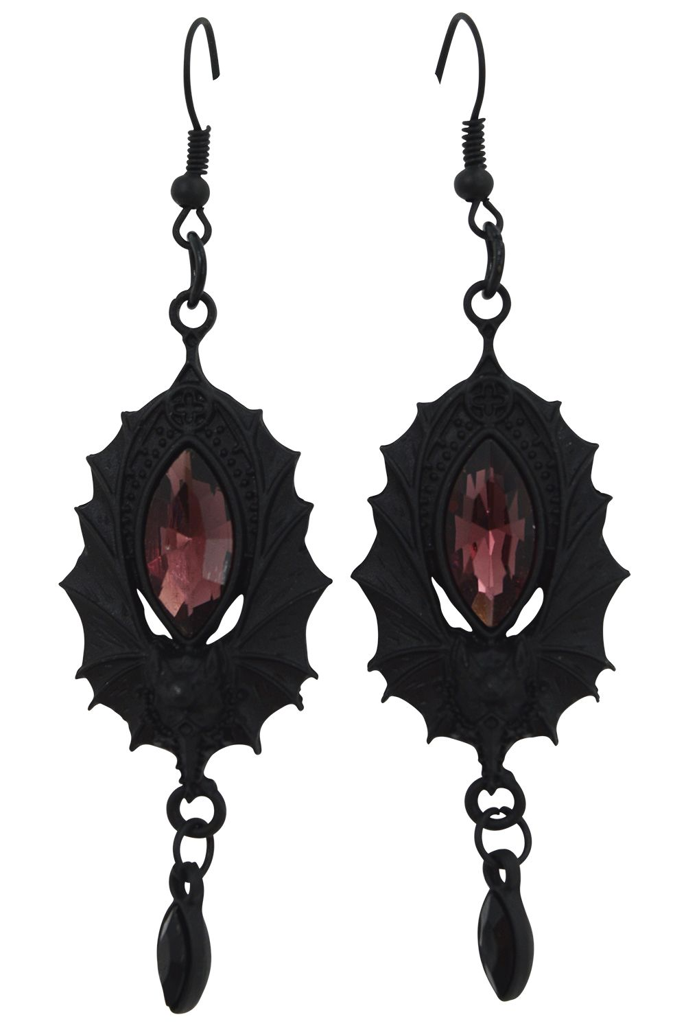 cfc121f35 Beautiful and elegant gothic Bat earrings. Bat wings are holding a magical  glass stone. Bat magic earrings in wine and black stones.