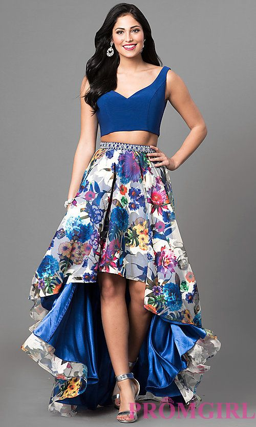 Two Piece High Low Prom Dress With Floral Skirt Prom In 2019