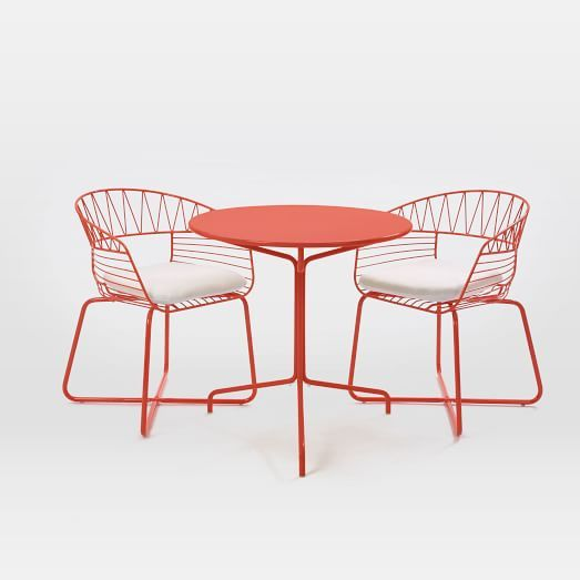 Soleil Metal Outdoor Bistro Dining Set Table 2 Chairs West Elm