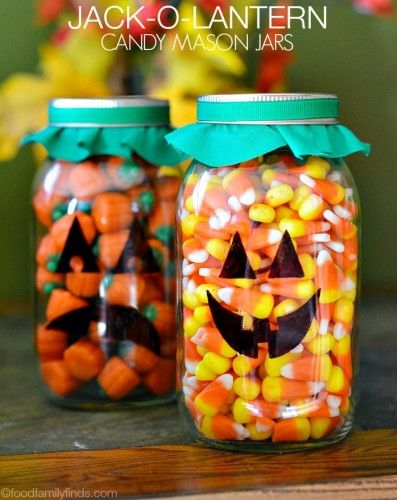 DIY Jack-O-Lantern Candy Mason Jars for Halloween #DIY #BallCanning #Halloween | FoodFamilyFinds.com
