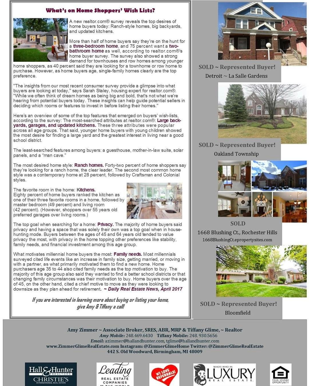 P  Of Our May ZimmerGlime Real Estate Newsletter Delves Into