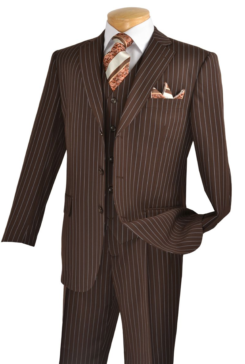 Vinci Mens Brown Classic Pinstripe Three Piece Suit V3RS-8