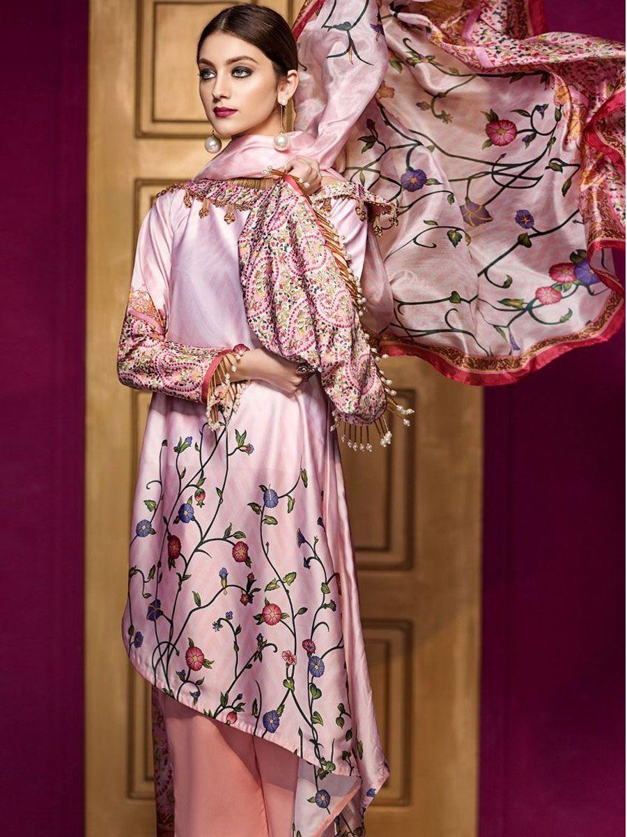 037e5b26c5 Gul Ahmed Lamis Digital Silk Collection   Pakistani suits   Fashion ...