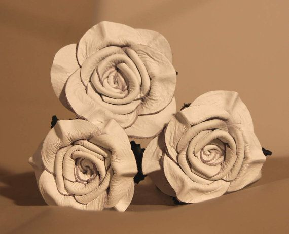 White Leather Rose Bouquet 3 roses 3rd by LeatherNstuff on Etsy
