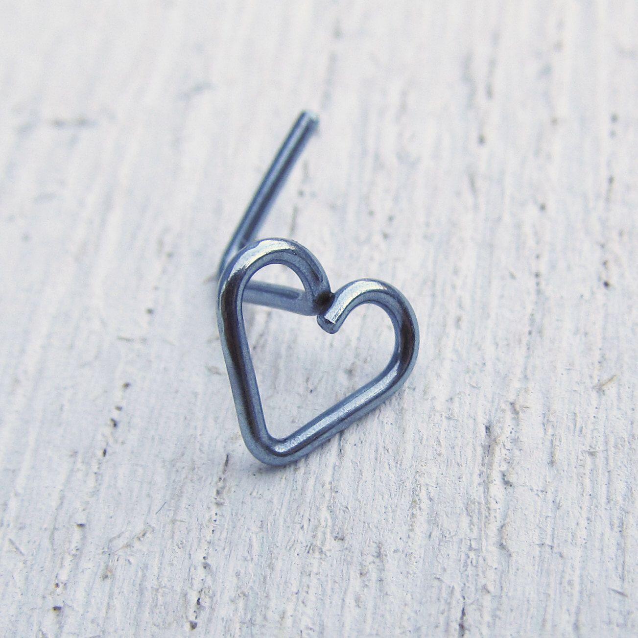 Nose piercing kit   Gauge Niobium Nose Stud  LBend Nose Stud  Heart Piercing