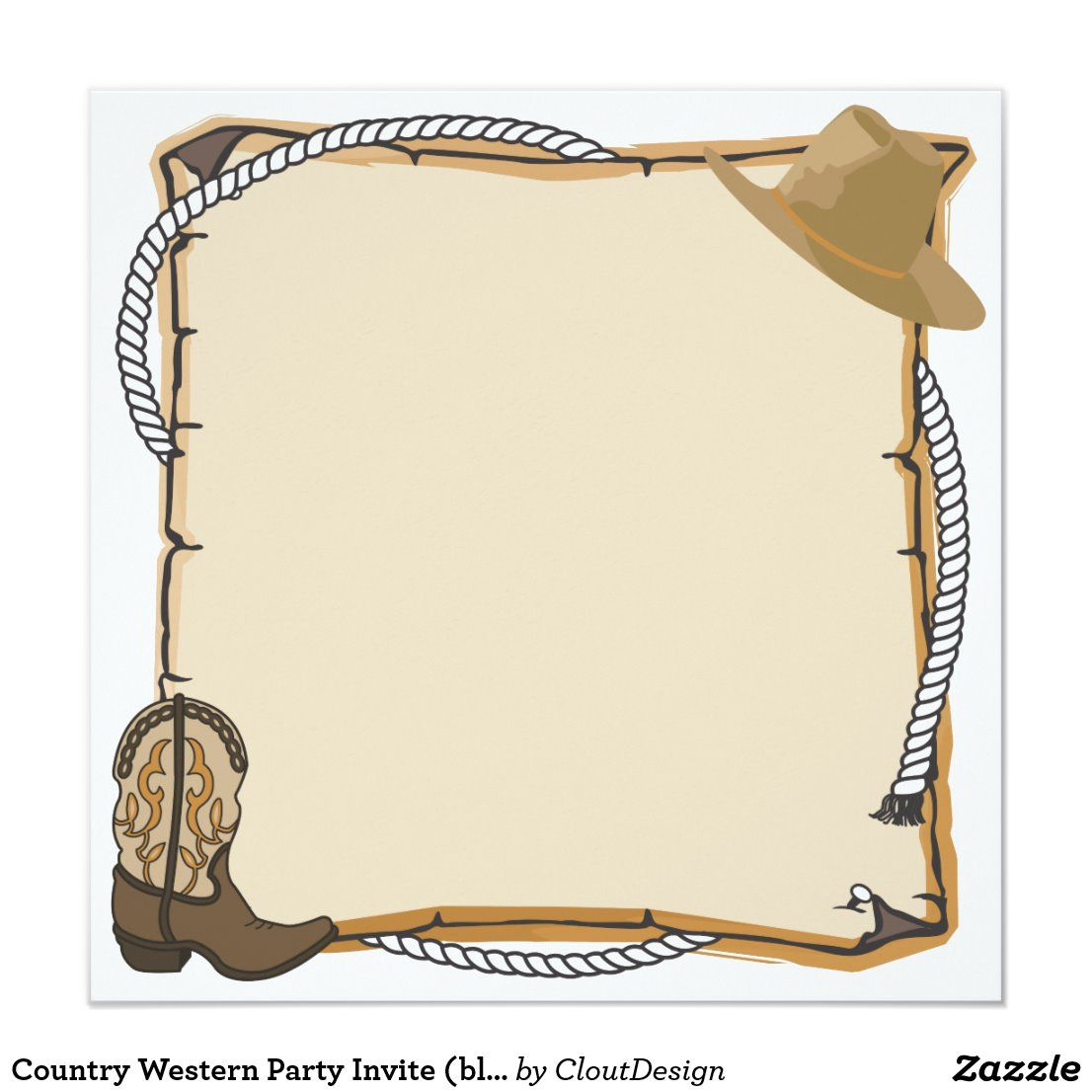 Country Western Party Invite Blank Zazzle Com In 2021 Cowboy Invitations Party Invite Template Western Parties