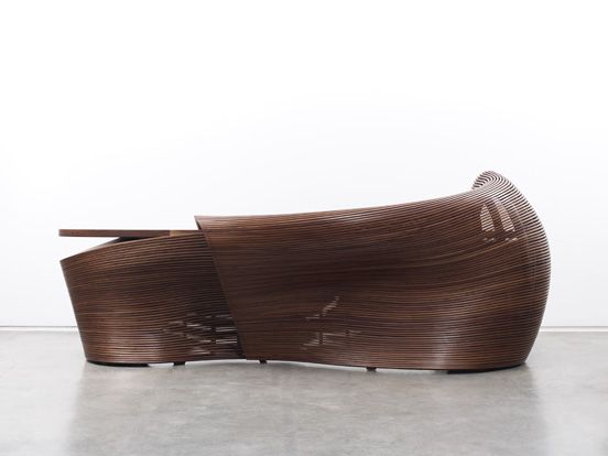 Parametric Bench   Grasshopper Slices With Steamed Wood Slats