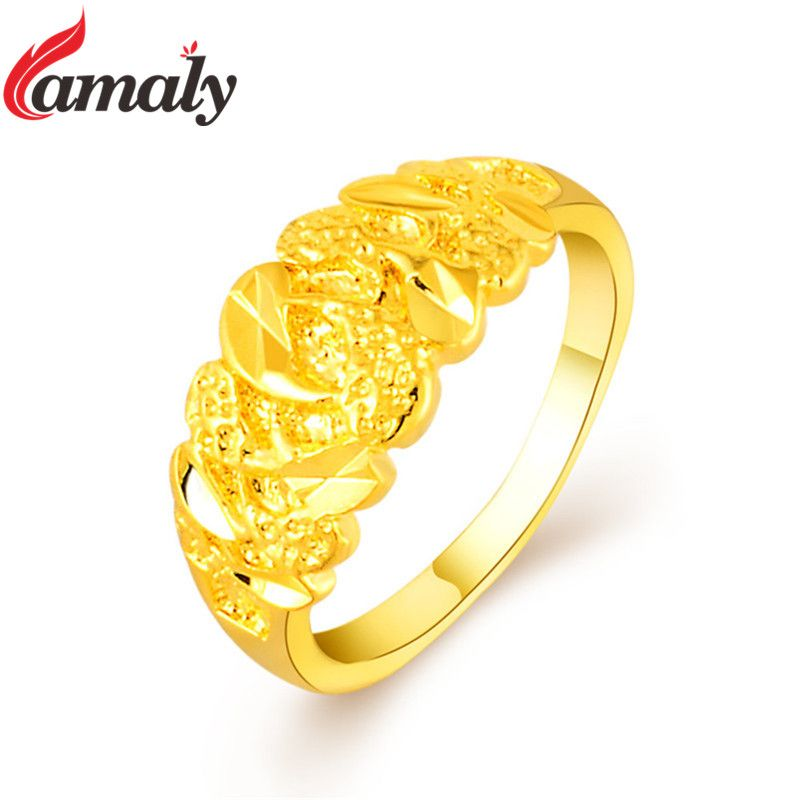 Dubai Golden Finger Rings Women S Pure Gold Color Engagement Ring