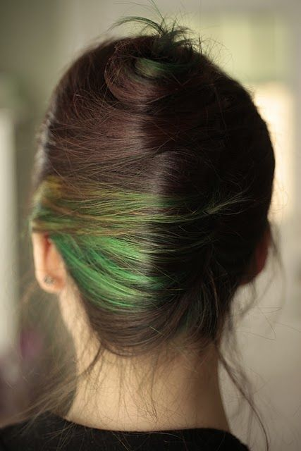 I saw another partial green hair dye floating around pinterest, but with it styled like this I can actually stand it.