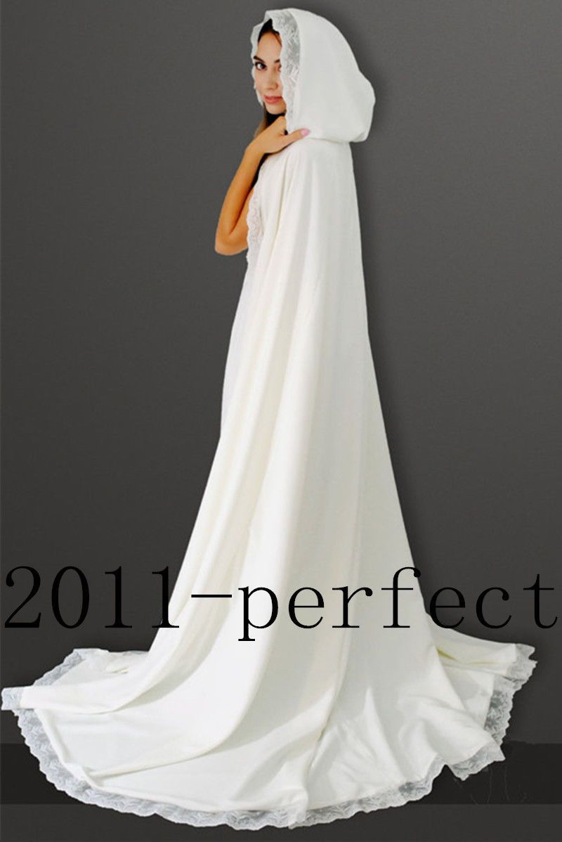 2016 Elegant White Lace Wedding Hooded Cloak Long Custom Cape Bridal Accessories
