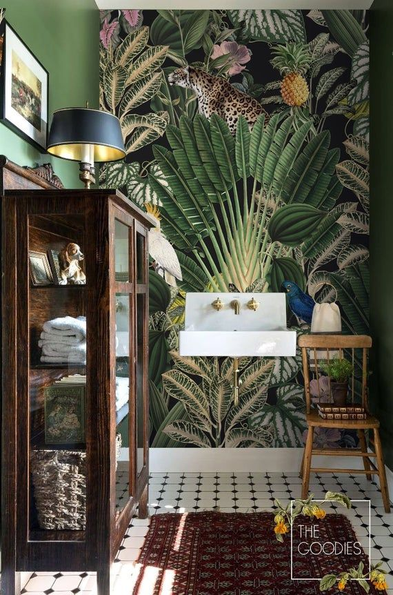 Dark jungle wallpaper, Jungle pattern, Gepard, parrot wallpaper, Removable or traditional walal mural, Custom sizes, colors and designs MATERIALS: 1. Traditional Paper material ★★✰✰ High quality, thick paper material with satin finish. Requires a glue for application (any glue for a paper #junglepattern